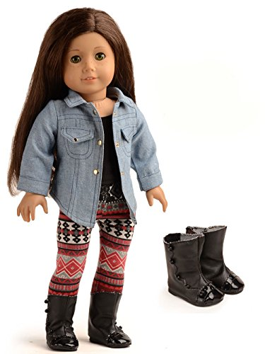 sweet dolly 4PC Doll Clothes Denim Jacket Tank Top Leggings Outfits for 18 inch American Girl Doll …