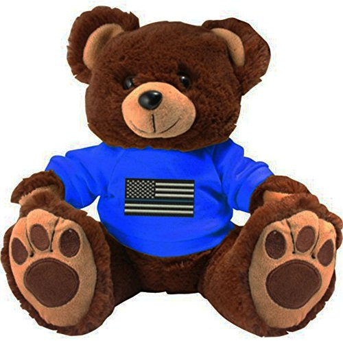 Honor Country Thin Blue Line Police American Flag Plush Toy Teddy Bear ()