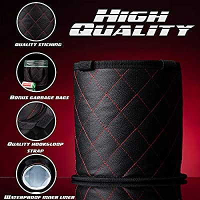 Fauchers 7'' X 7 Small Size CAR Trash CAN, Includes CAR Garbage Bags – Center Console CAR Trash Container – AUTO Trash Container for HEADREST – Luxury Style CAR Trash BIN, FIT All Vehicle.: Automotive