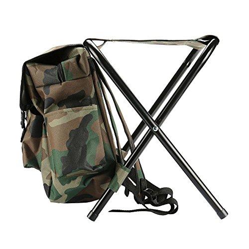 Mochila de pesca Rosepoem - Silla plegable para acampar Mochila para taburete con bolsa de picnic aislada, camuflaje para...