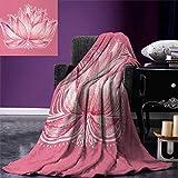 smallbeefly Floral Digital Printing Blanket Lotus Flower Meditation Yoga Plant Asian Zen Petal Spiritual Icon Chakra Print Summer Quilt Comforter 80''x60'' Baby Pink Cream
