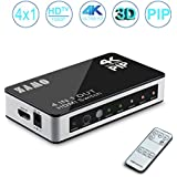 4 x 1 HDMI Switch, ZAMO 4K X 2K 4 In 1 Out 4port HDMI Switcher with PIP and IR Wireless Remote Control, Support Ultra HD 4K X2K,1080P,HDMI 1.4a & 3D