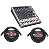 Behringer XENYX X1222USB Premium 12-Input 2/2-Bus Mixer with XENYX Mic Preamps and Compressors, British EQs - With 2 Pack 15' 8mm XLR Microphone Cable