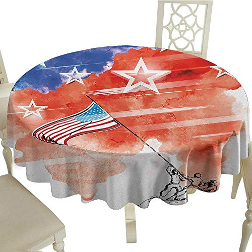 - Round Tablecloth Plaid 4th of July,Watercolor Artwork of a Historical Scene Soldiers Planting The American Flag,Multicolor D60,for Bistro Table