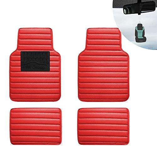 FH Group 12001 Luxury Universal All-Season Heavy Duty Faux Leather Car Floor Mats Stripe Design w. High Tech 3-D Anti-Skid/Slip -