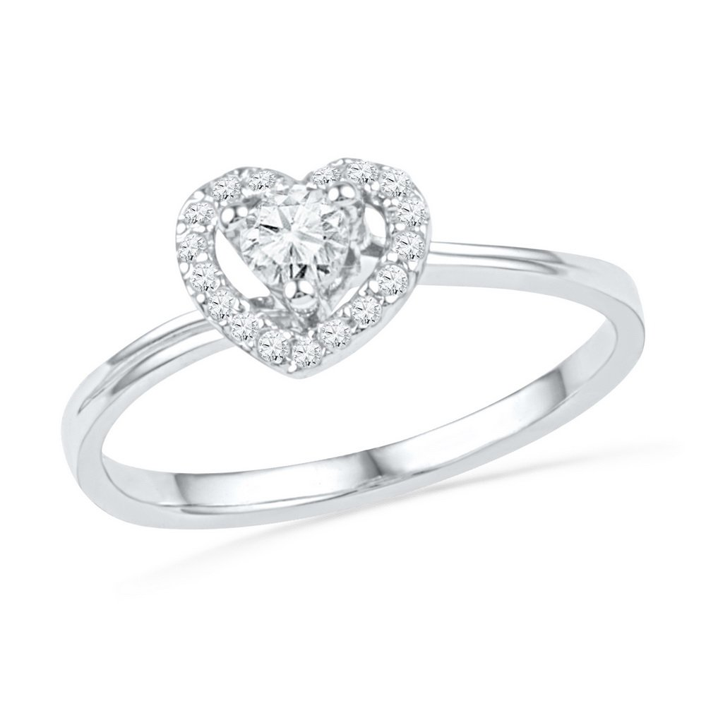 10kt White Gold Womens Round Diamond Heart Love Promise Bridal Ring 1/4 Cttw (I1-I2 clarity; H-I color)