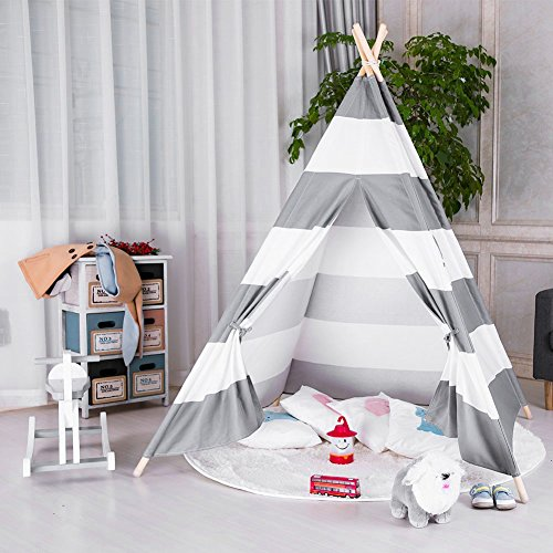 Clover Stripe (FOUR CLOVER Kids Teepee Children Play Tent with Carry Case for Indoor Outdoor, Raw White Canvas (Grey & White Stripe))