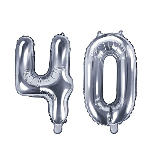 Unbekannt XXL Globo de plástico/Número 40 en Plata/de ...
