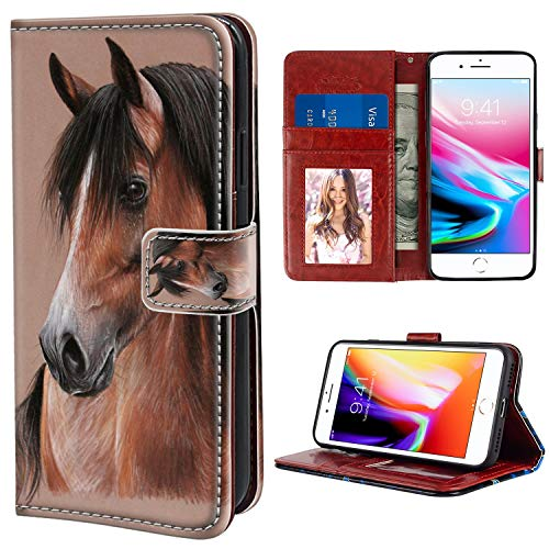 YaoLang iPhone 7/8 Plus Wallet Case, Brown Horse PU Leather Standable Wallet Phone Case with Card Holder Magnetic Hold for iPhone 7/8 Plus