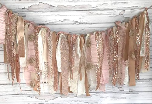 Rose Gold Sparkle Shabby Chic Rag Tie Garland: ~ Photo Shoot ~ Wedding ~ Birthday ~ Nursery ~ Bridal Shower ~ Highchair Banner ~ Gender Reveal Parties ~ Decorations ~ Wall Decor! (3 FEET) ()