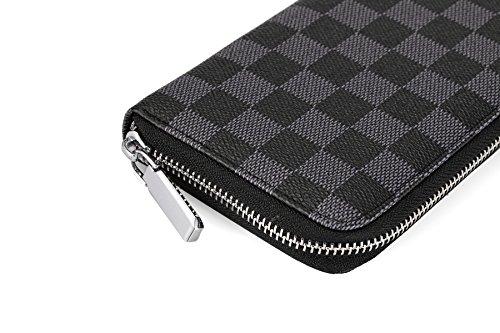 3810e741eee3 Daisy Rose Women s Checkered Zip Around Wallet and Phone Clutch - RFID  Blocking with Card Holder Organizer ...