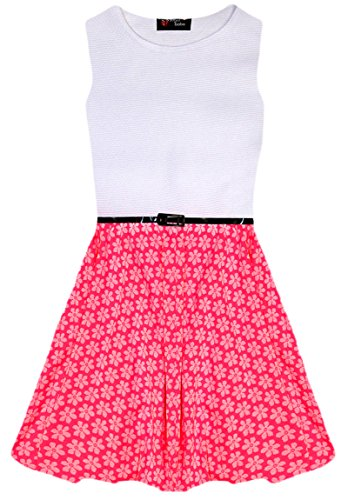 Aelstores Ball Pink Floral con Retro Dress Girls cintur Skater Neon rqwI0r4A