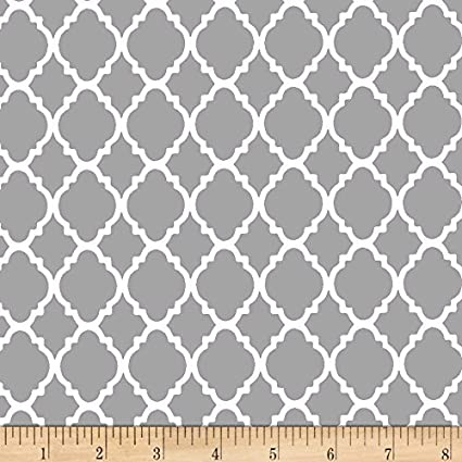 Amazon.com: Santee Print Works Quatrefoil Grey/White Fabric By The Yard