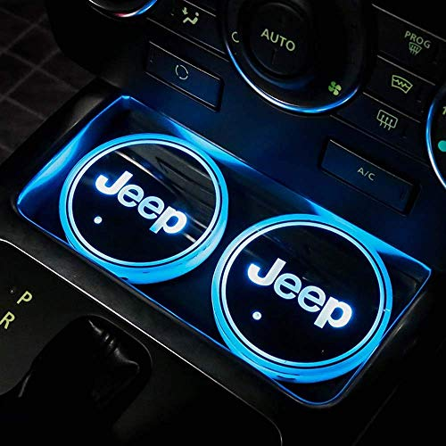 DIYcarhome LED Car Cup Holder Lights, Car Logo Coaster with 7 Colors Changing USB Charging Mat, Luminescent Cup Pad Interior Atmosphere Lamp Decoration Light for Jeep (2 PCS)