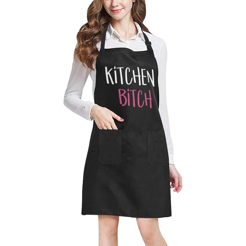 WECE面白いキッチンBitchホームキッチンエプロンforレディースメンズポケット付き、ユニセックス調整可能なよだれかけエプロンfor Cooking Bakingガーデニング、大きなサイズ 27.56 x 31.50 APR0001-03  Design 01 B07DB66S6Z