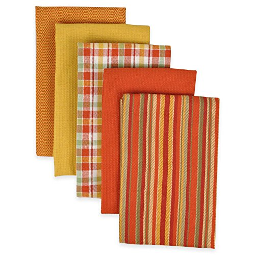 DII Kitchen Towels (Spice, 16x26), Ultra Absorbent & Fast Drying, Professional Grade Cotton Tea Towels for Everyday Cooking and Baking - Assorted Patterns, Set of 5