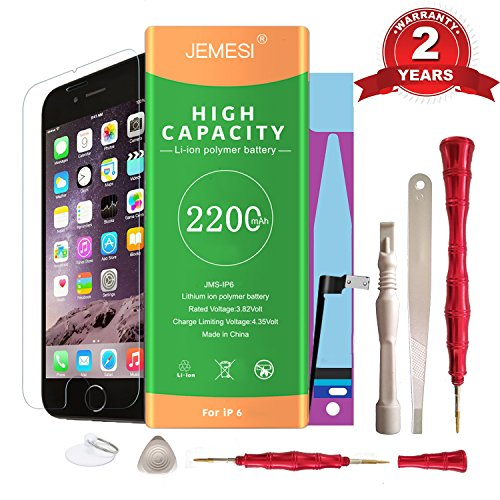 JEMESI Replacement Battery Model iphone 6 - New 0 Cycle 2200mAh High Capacity ,with Repair Tool kits Include Adhesive, Instructions and Screen Protector -[24 Months (High Capacity Replacement)