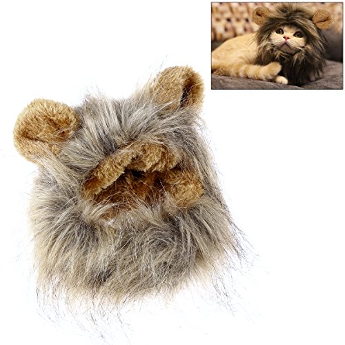 UEETEK Adorable Pet Hat Funny Lion Mane Wig Pet Cat Kitty Puppy Cosplay Costumes Hairpiece Caps With Ears for Pet Dog Cat Dress Up