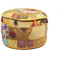 GANESHAM Indian Hippie Vintage Katoen Vloerkussen & Kussen Patchwork Bean Bag Stoel Cover Boho Bohemian Hand Geborduurd…