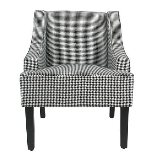Meadow Lane Classic Swoop Accent Chair - Ebony - Houndstooth Accent