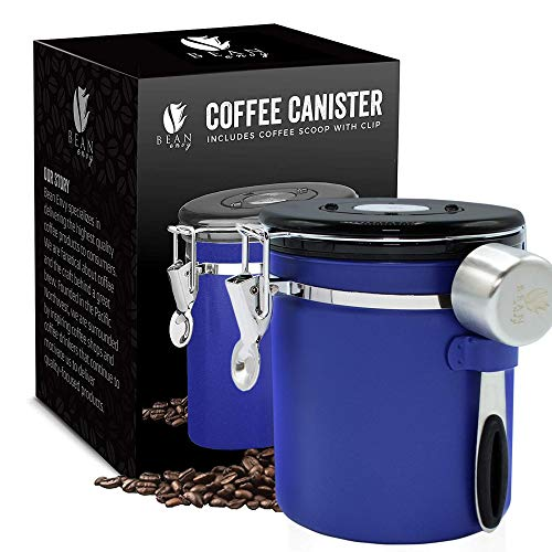 Bean Envy Airtight Coffee Canister - 16 oz - Includes Stainless Steel Coffee Scoop - Sealed Container With Cantilever Lid - Co2 Gas Release Wicovalve & Numerical Day/Month Tracker - Blue