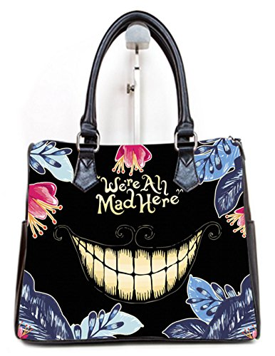 (PU Leather Female Women Barrel Type Handbags Top-Handle Bags We're all Mad Here - Cheshire Cat Pattern)