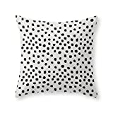 Society6 Preppy brushstroke free polka dots black and white spots dots dalmation animal spots design minimal Throw Pillow Cover (16'' x 16'') with pillow insert