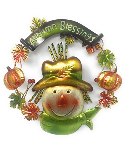 "Harvest Thanksgiving Fall Door Wall Decor ""Autumn Blessings"" Sign Wreath Rustic Metal"