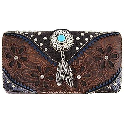 Western Feather Tooled Leather Laser Cut Purse Single Shoulder Bag Clutch Women Blocking Wristlets Wallet