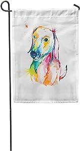 "Semtomn Seasonal Garden Flags 28"" x 40"" Animal Dachshund Hand Watercolor of Dog Bassotto Companion Cute Dash Outdoor Decorative House Yard Flag"