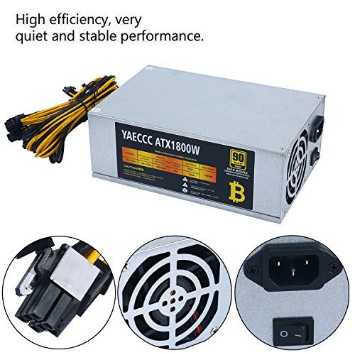 1800W High-efficiency 10x6 Pin Miner Power Supply 1800 watt Mining Machine dedicated Power Supply Active PFC circuit power Supplies for 6 GPU Bitcoin Antminer S9 S7 L3+ D3 T9 E9 A4 A6 A7 with 2 Coolin