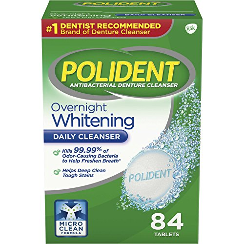 (Polident Overnight Whitening Antibacterial Denture Cleanser Effervescent Tablets, 84 count)