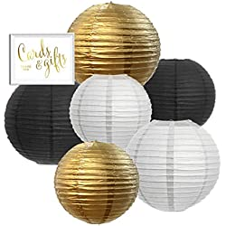 Andaz Press Hanging Paper Lantern Party Decor Trio Kit with Gold Party Sign, Gold, Black, White, 6-Pack, For New Year's Cheers Bitches Bachelorette Shower Decorations