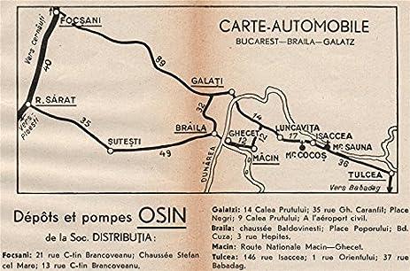 Amazoncom ROMANIA Vintage Road Map FocsaniBrailaGalatiTulcea - Focşani map