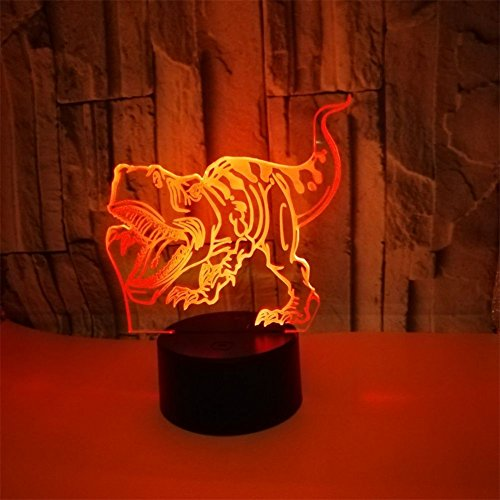 RUIYI 3D Optical Illusion Night Lamp Tyrannosaurus Visual Lmaps,Dinosaur 7 Color Change Lamp Base Birthday Gift Child Kid Home Decoration by RUIYI (Image #2)