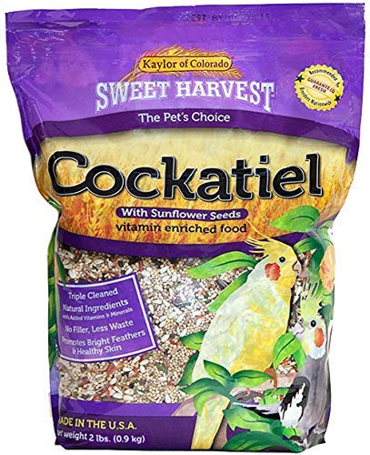 Sweet Harvest Cockatiel Bird Food (With Sunflower Seeds), 4 lbs Bag – Seed Mix for Cockatiels