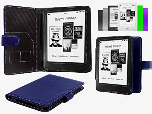 """Navitech Blue Bycast Leather Case Compatible with The Kobo Mini 5"""" Inch E-Reader"""