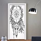 Gzhihine custom made 3d door stickers Tattoo Decor Deer Skull with Feathers on its Antlers as an Accessory holding a Star White and Black For Room Decor 30x79