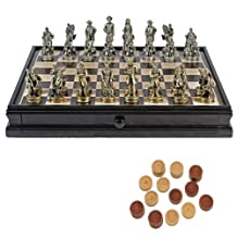 WE Games Civil War Chess & Checkers Game Set - Pewter Chessmen & Wood Board with Storage Drawers 15 in.