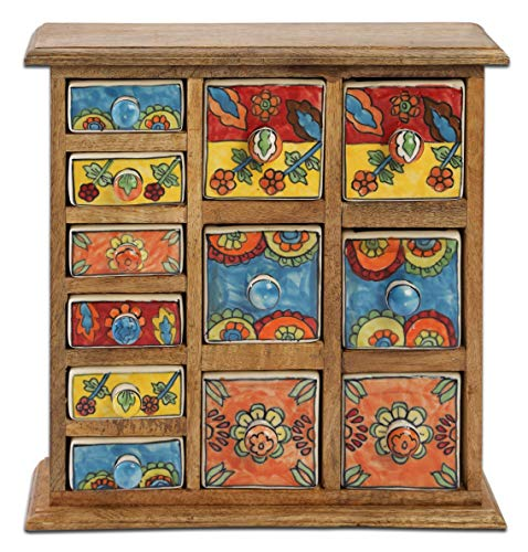 Curios 12 Drawer Light Brown Wood Apothecary Chest (Drawers Cabinet With Curio)