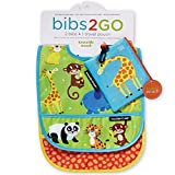 2-Pack of Baby Bibs 2-Go - Water Resistant, Catch All Pocket and Travel Pouch - Jungle Theme