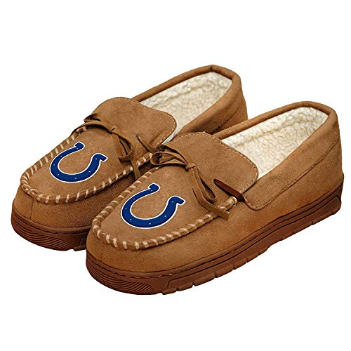 Indianapolis Colts Shoe - Forever Collectibles NFL Football Mens Team Logo Moccasin Slippers Shoe - Pick Team (Indianapolis Colts, Large)