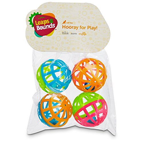 Leaps & Bounds Lattice Ball and Bell Cat Toys, Pack of 4 balls, Mini, Multi-Color