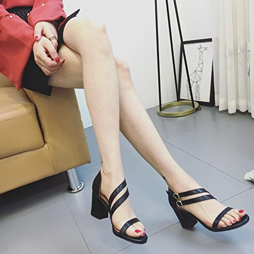 Un avec À black Chaussures Été des avec Sandales ZHUDJ Talons Hauts Toe D'Épaisseur Simple Souliers Talon À wxaOIqO