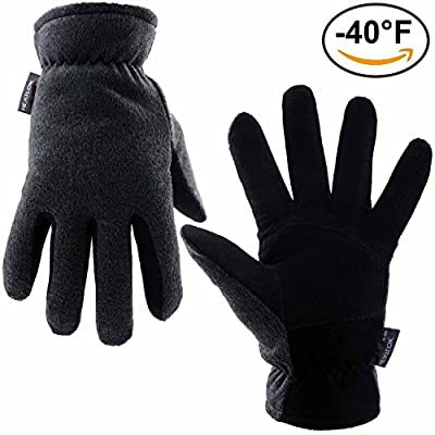 Winter Gloves, OZERO -40ºF Cold Proof Thermal Glove - Deerskin Suede Leather Palm and Polar Fleece Back with Heatlok Insulated Cotton Layer - Keep Warm in Cold Weather - Black/Tan/Gray (S/M/L/XL)