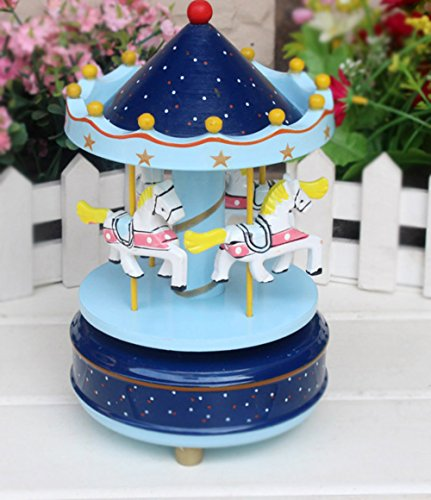 BXT Merry Go Round Music Box Wooden Carousel Multi Colored 4 Horse Animated Figurine Desktop Playset Awesome Kids Xmas Birthday Presents
