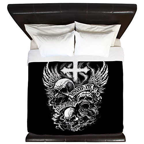 King Duvet Cover God Is My Judge Skulls Cross Angel by Royal Lion