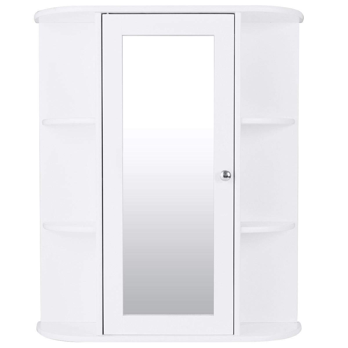 OHO NEW Bathroom Cabinet Single Door Shelves Wall Mount Cabinet W/Mirror Organizer