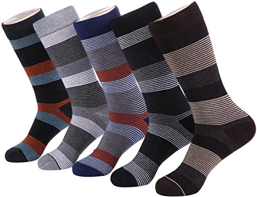 Marino Mens Patterned Dress Socks, Colorful Fun Socks, Fashion Cotton Socks - 5 Pack - Modern Striped Collection - 10-13 (Wacky Cushions)