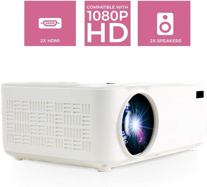 PRIXTON Goya P20 - Mini Proyector Portatil / Proyector Cine en Casa de 2.800 Lumens, 2 Altavoces y Mando a Distancia Incluido, 50.000 Horas Reproducción, Entradas: VGA, 2xHDMI, USB2.0, MicroSD y AV